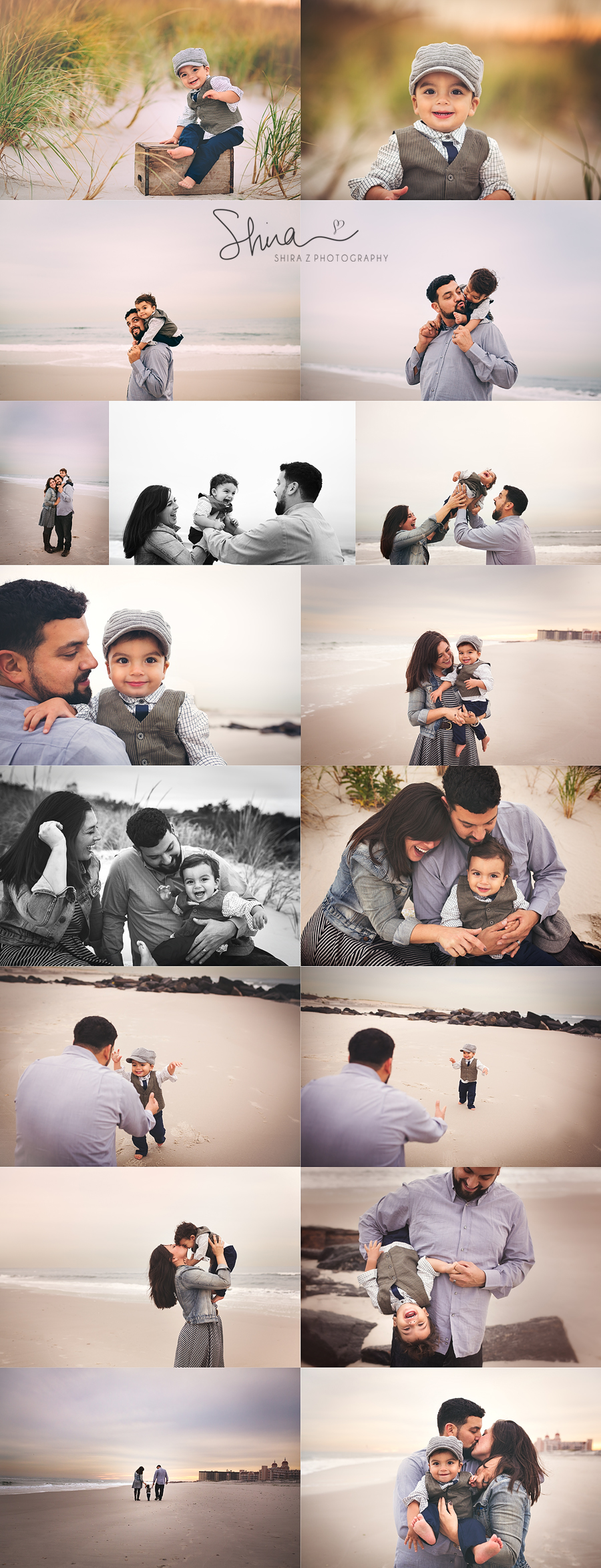 Collage of a family beach photos in Long Beach, NY with a handsome little boy and his parents