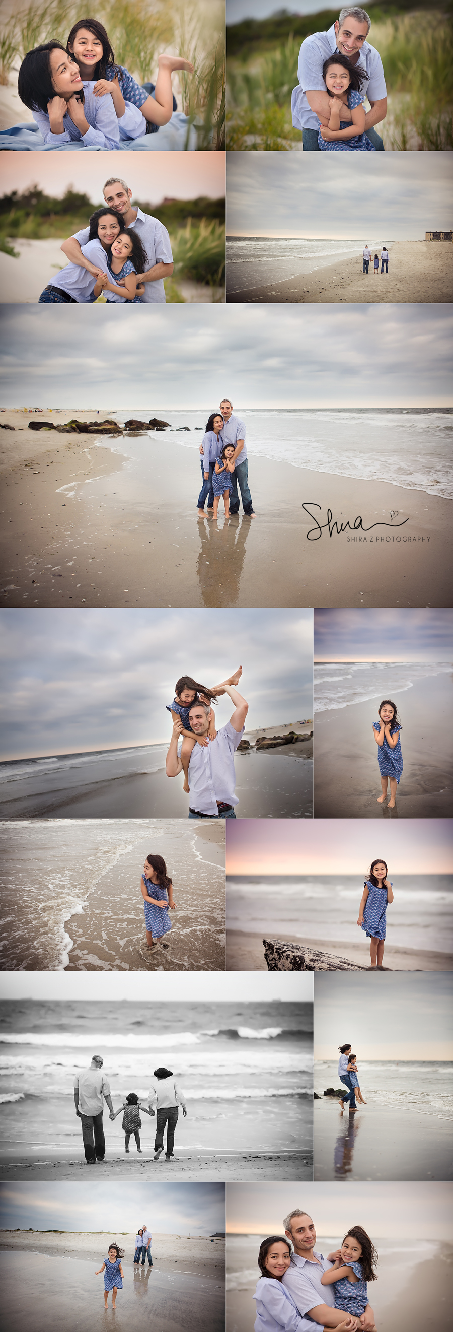 Collage of Long Island Family Long Beach Portraits