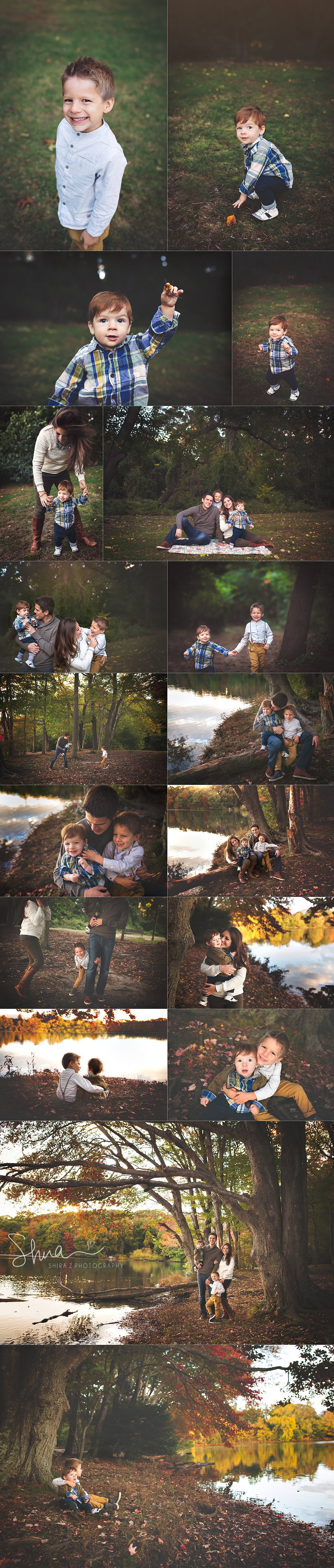 collage of images at Hempstead Lake Park of family with two little boys. A long island family photographers dream!