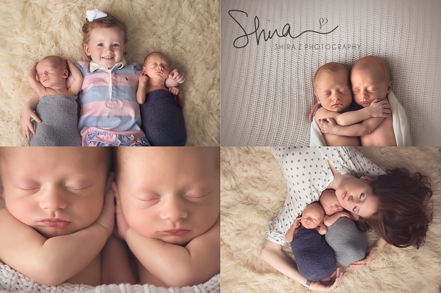 Long Island Family Photos collage of twin newborn boys