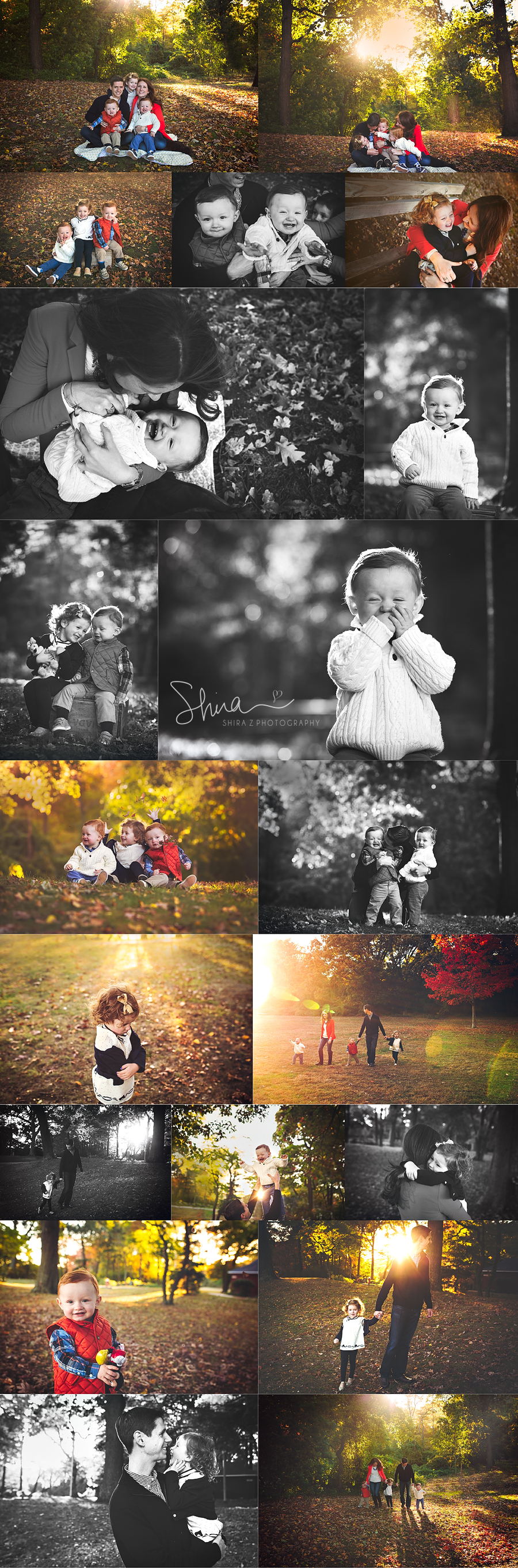 collage of Long Island family photos with three children outdoors in the Fall