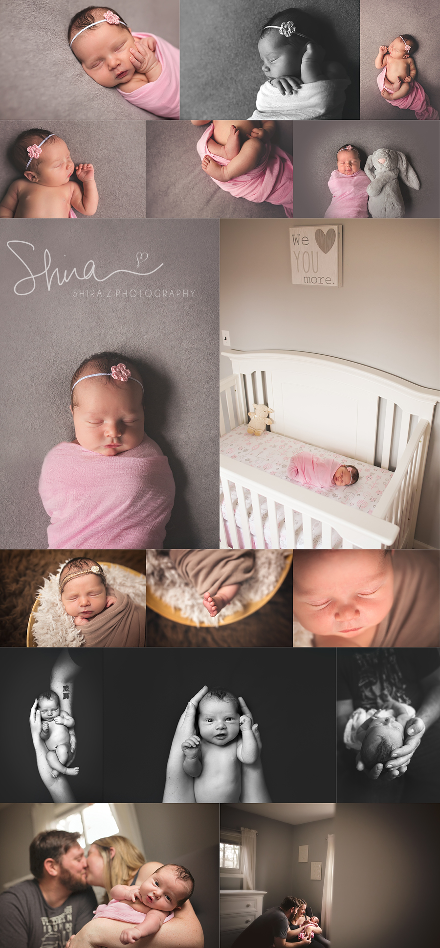 collage of newborn photos of beautiful long island baby girl