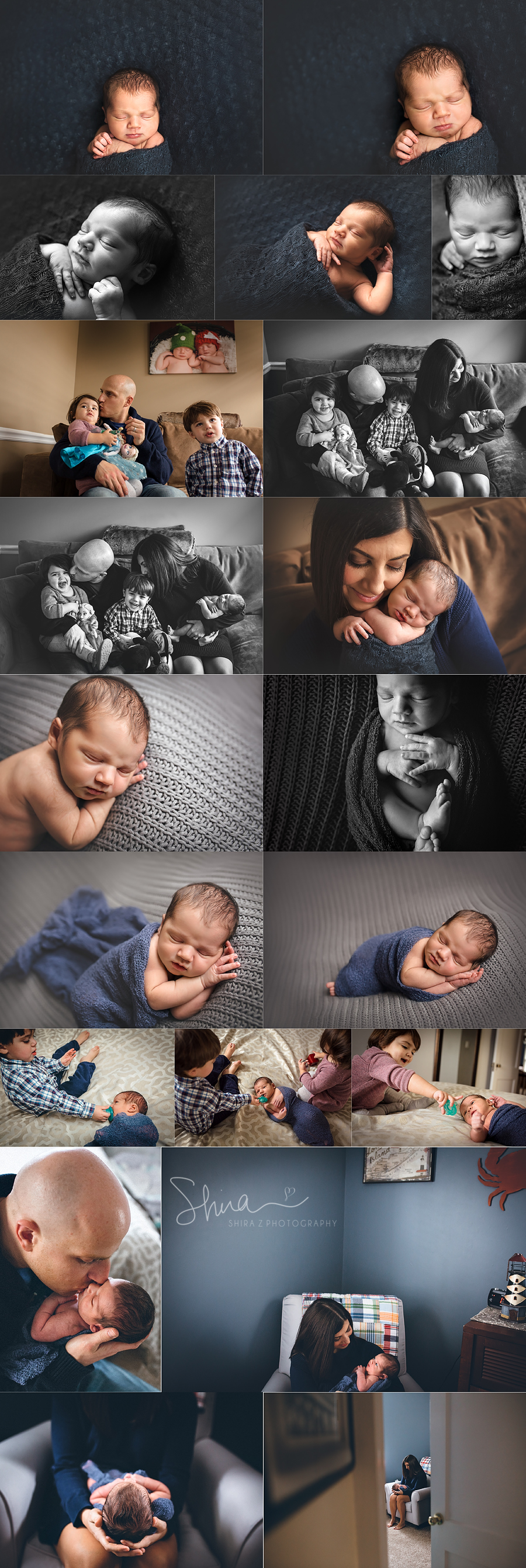 collage of a Newborn baby boy photo session by long island newborn and family photographer Shira Z. Photography