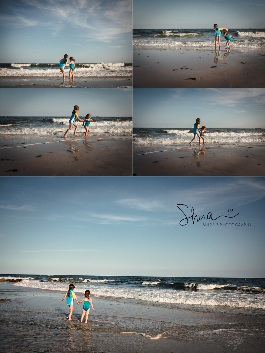 collage of pictures of sisters playing at long beach, ny